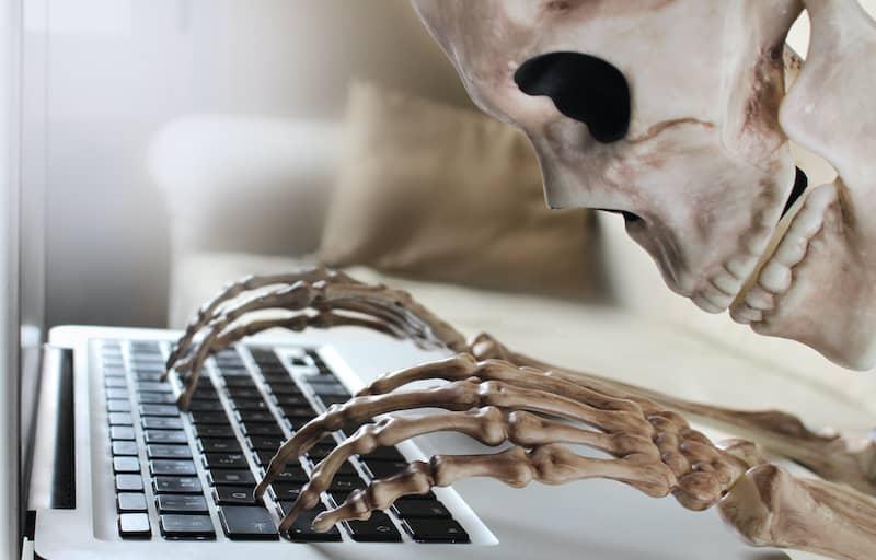skeleton on laptop