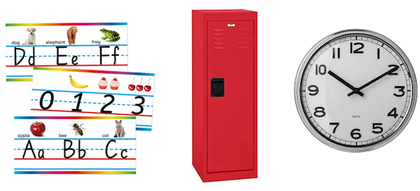 Products: Alphabet And Numbers Classroom Wall Line; Sandusky Lee Kids Locker; PUGG Wall Clock.