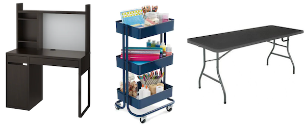 Products: MICKE Desk; Lexington 3-Tier Rolling Cart; Mainstays 6' Centerfold Folding Table.