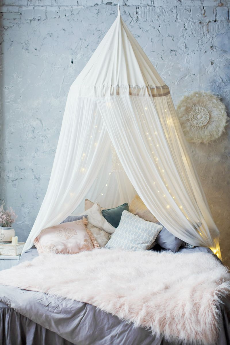canopy with lights over kids bed