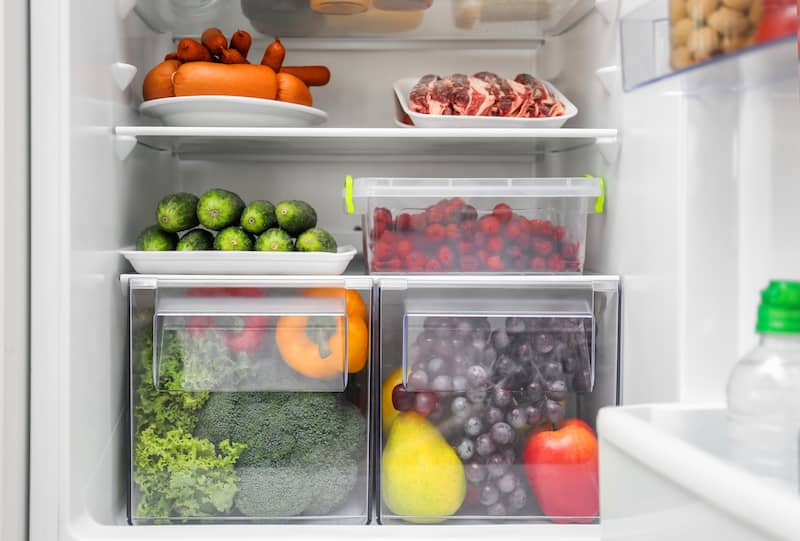 fridge organized with containers