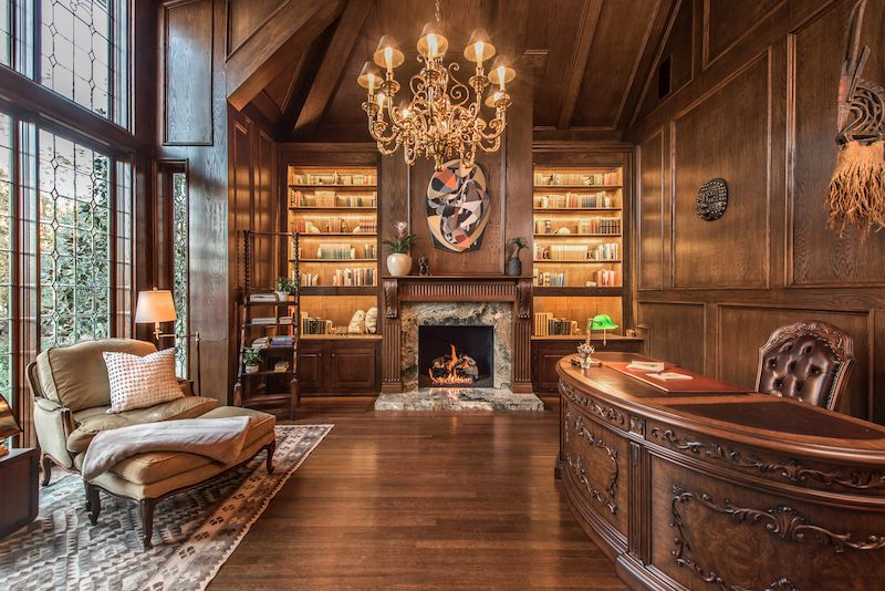 Large wood library courtesy of Sarah Bernard Design and Steve Dewall
