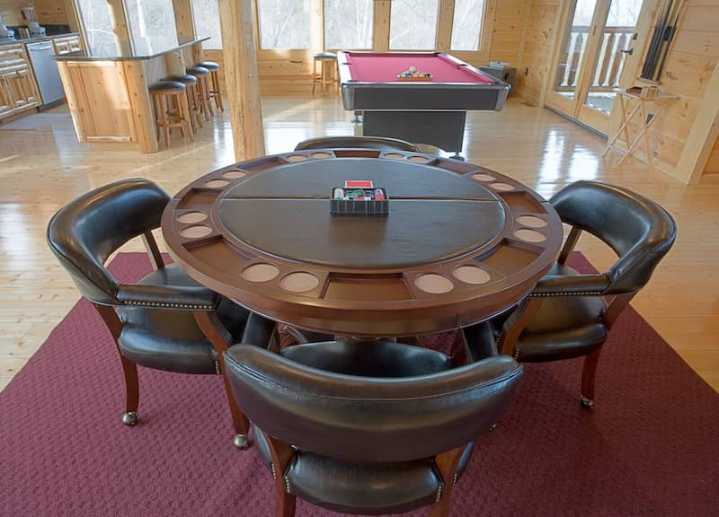 poker table in game room of man cave