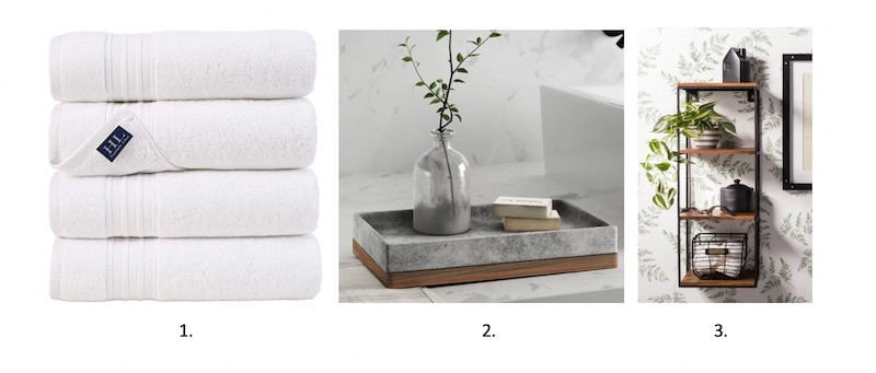 Towels, minimalist shelving and decor.