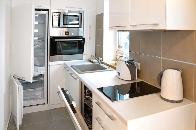Modern, sleek interior of small home.