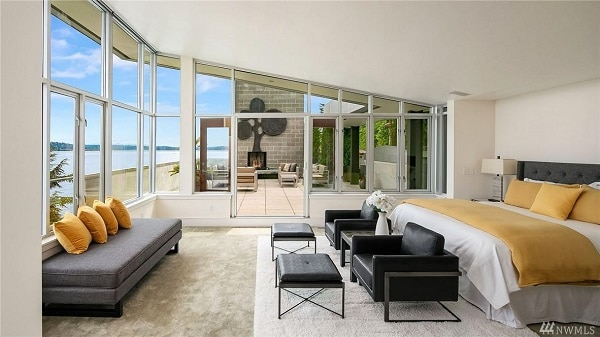 Master bedroom with balcony, Seattle lakefront mansion.