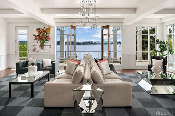 Open living room in Seattle lakefront mansion.