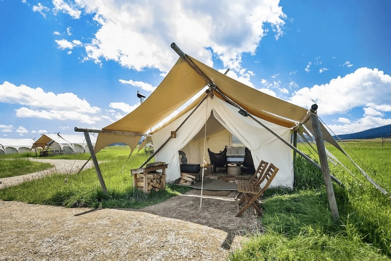 Glamping tent near Yellowstone Park in Montana.