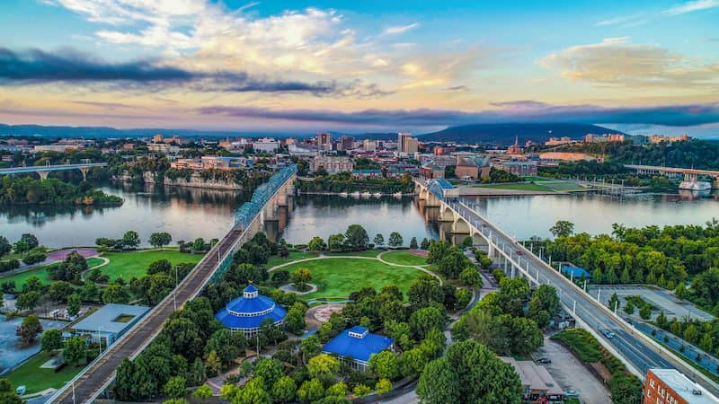 Aerial View Of Chattanooga Tennessee