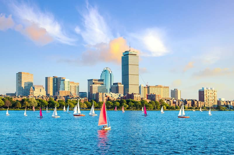 Sailboats on the ocean in Boston