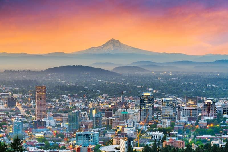 Portland, Oregon at sunset