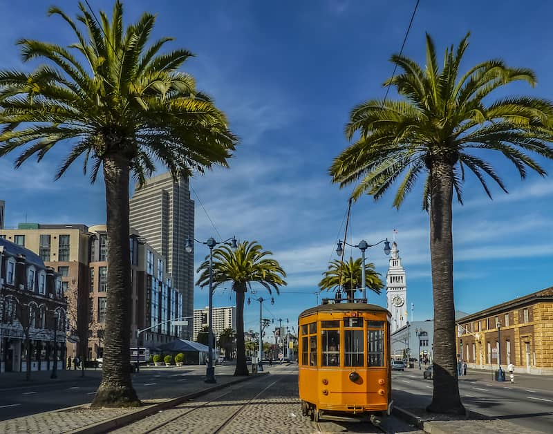 Railcar between palm trees in San Francisco