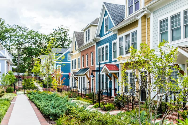 Row of colorful houses in Silver Spring, Maryland