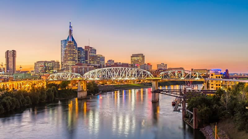 Skyline reflecting on the river in Nashville, Tennessee