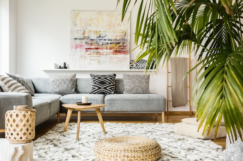 Natural boho decor in living room.