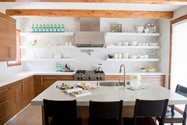 wall in kitchen with lots of shelves