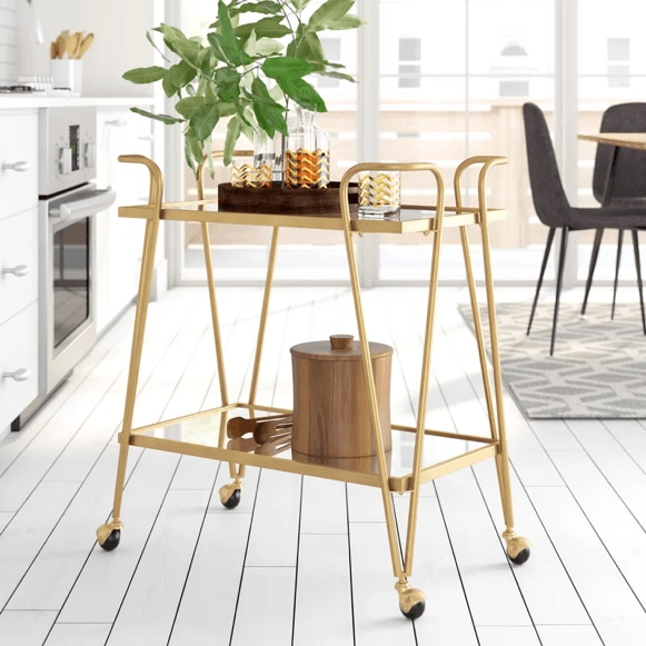Gold bar cart from Wayfair.