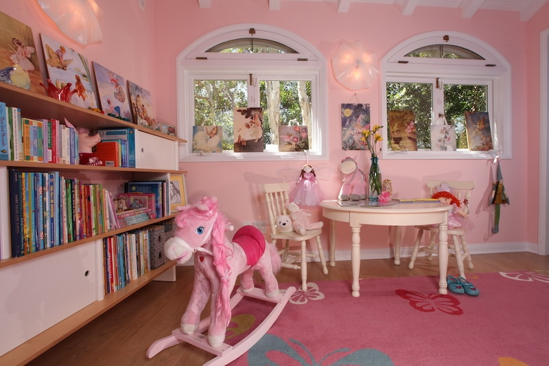 Pink library courtesy of Sarah Bernard Design and Chas Metivier