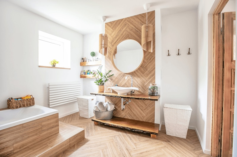 renovated bathroom with wood finishings