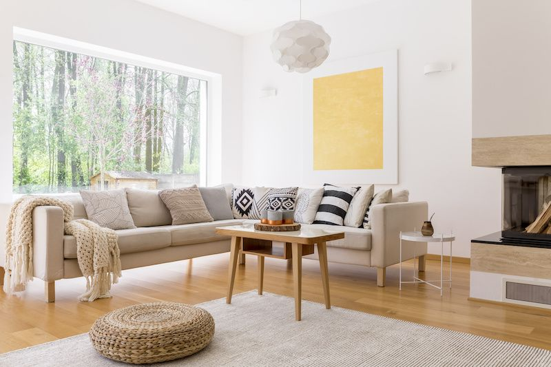 modern living room with pops of yellow color