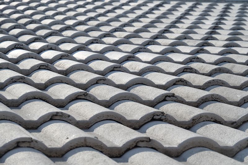 grey concrete tiles on a roof