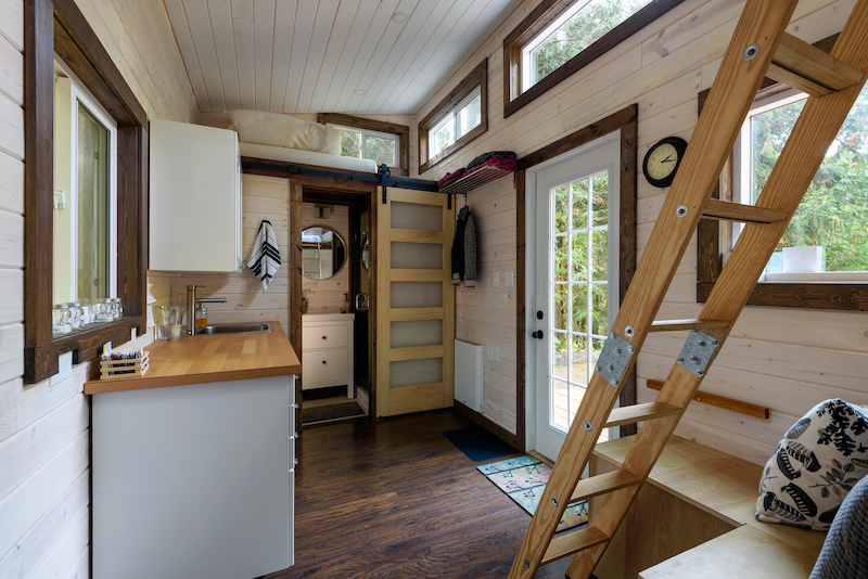 Rustic tiny home interior.