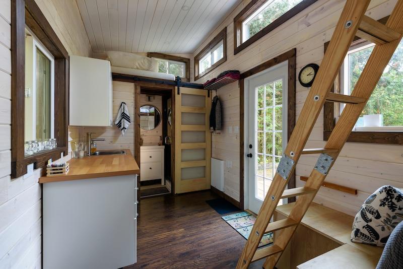 Rustic tiny home interior.