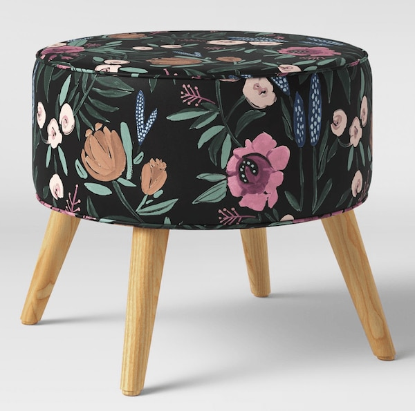 Floral ottoman.