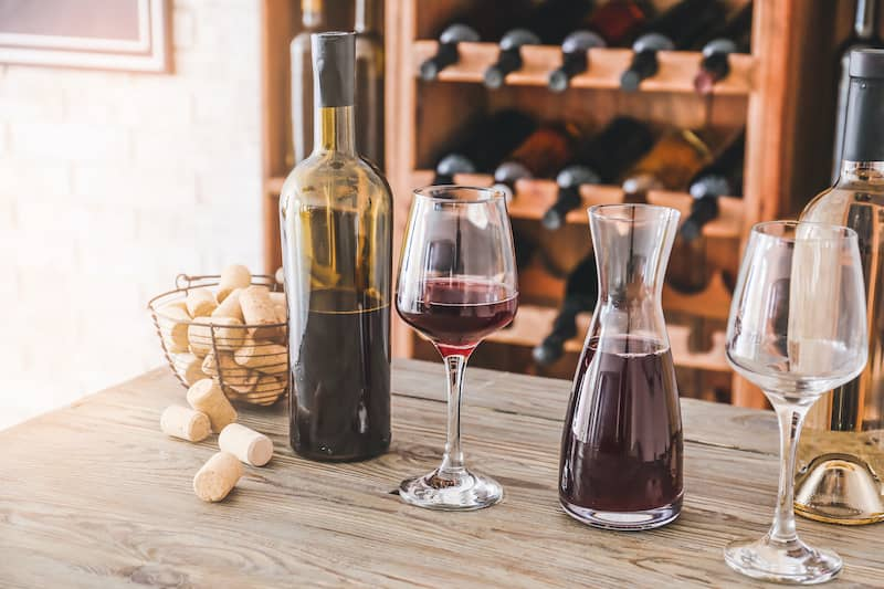 wine bar with glasses and bottles