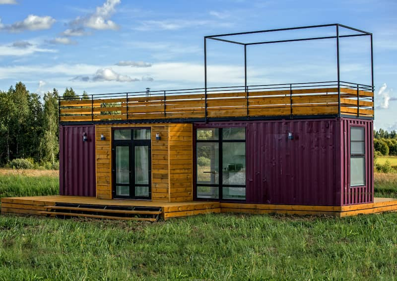 single shipping container with wood accents