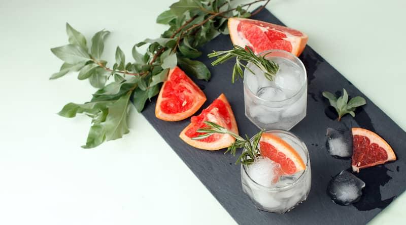 Citrus And Herb Ingredients On Slate Bar Arrangement