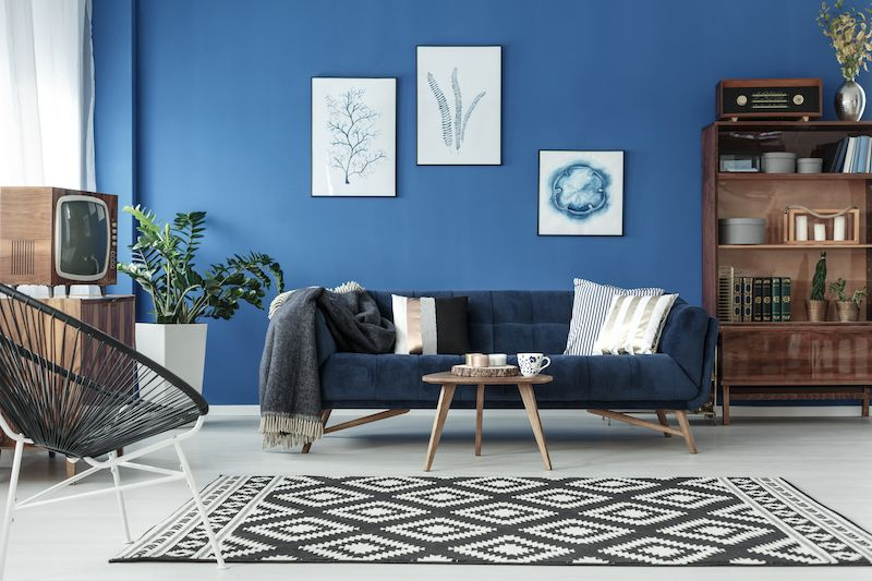 Classic blue Pantone color of the year themed living room