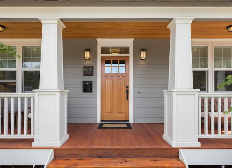 craftsman style door and porch