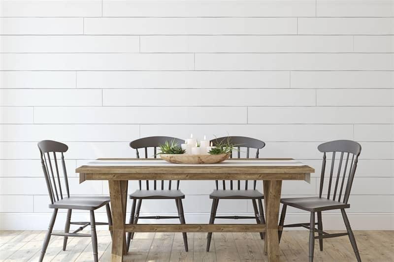 Rustic Dining Room Minimalist Shiplap Wall