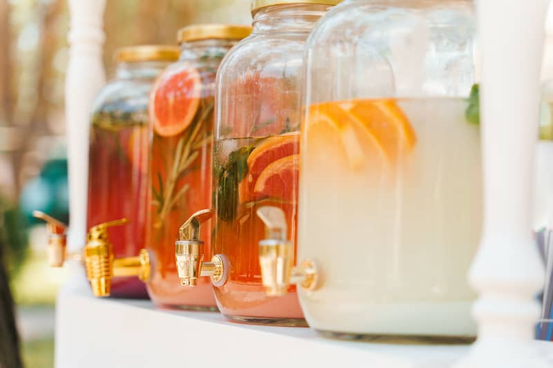 Glass Drink Dispensers With Cut Fruit Infusions