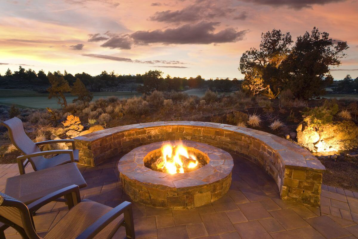 outdoor fire pit with great view