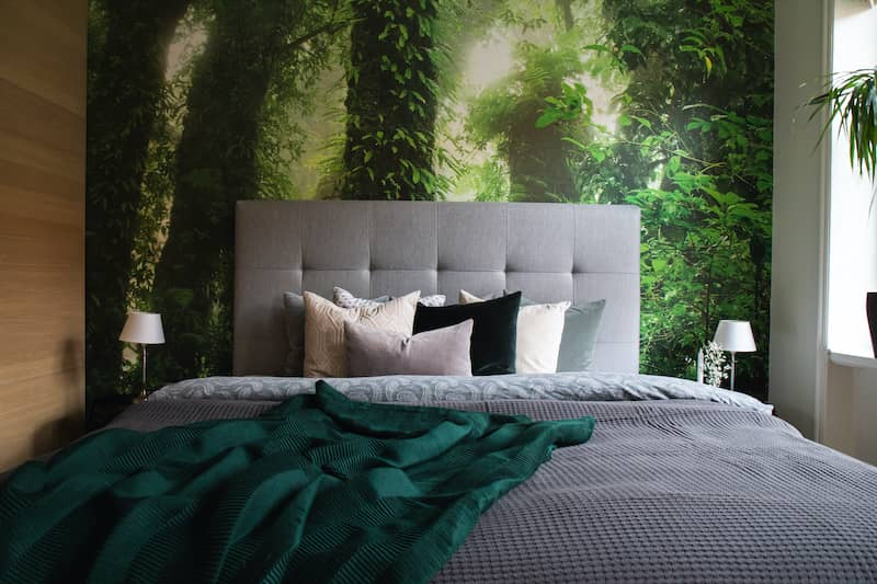 Bedroom Wall With Forest Wallpaper