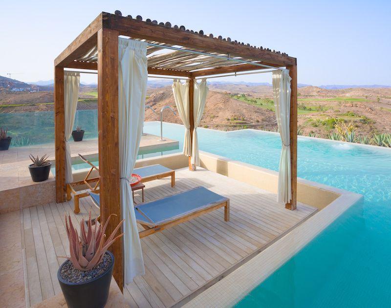 freestanding pergola poolside