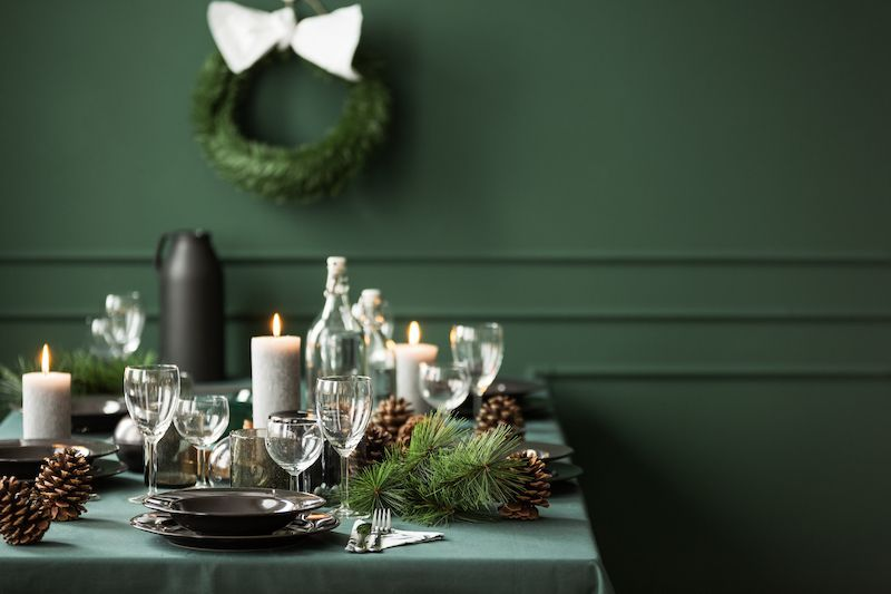 Green color palette dining room table.