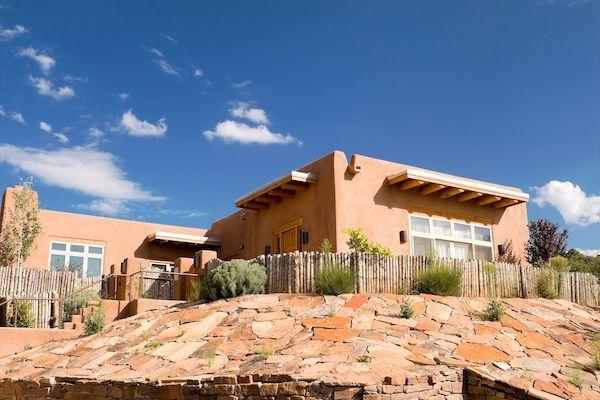 Mission style pueblo house.