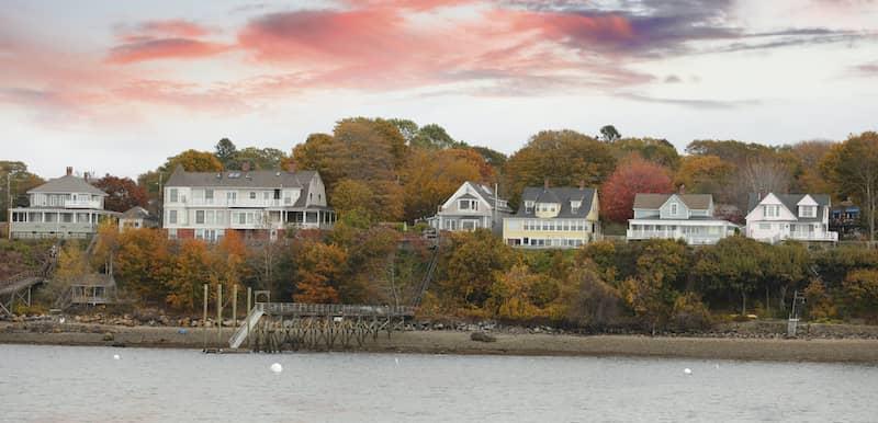 Homes on coast of Portland Maine