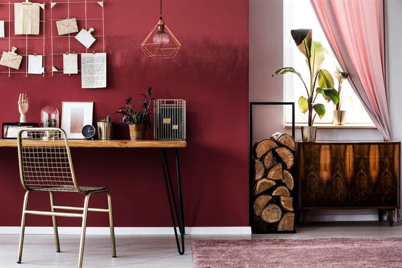 Red home office.