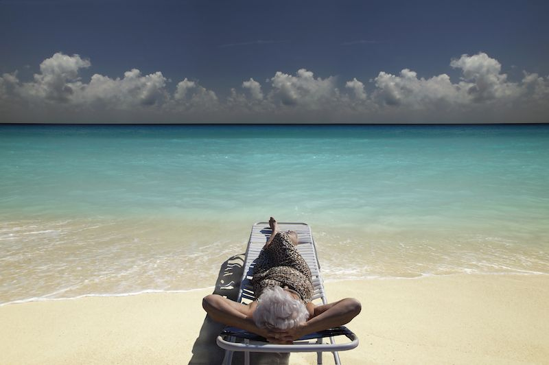 Retiree relaxing in a beach chair in Florida