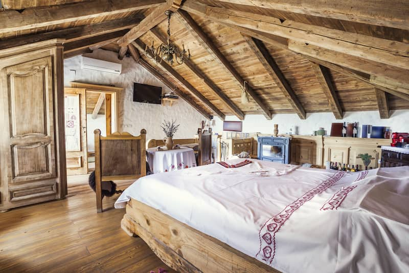 Rustic attic bedroom.