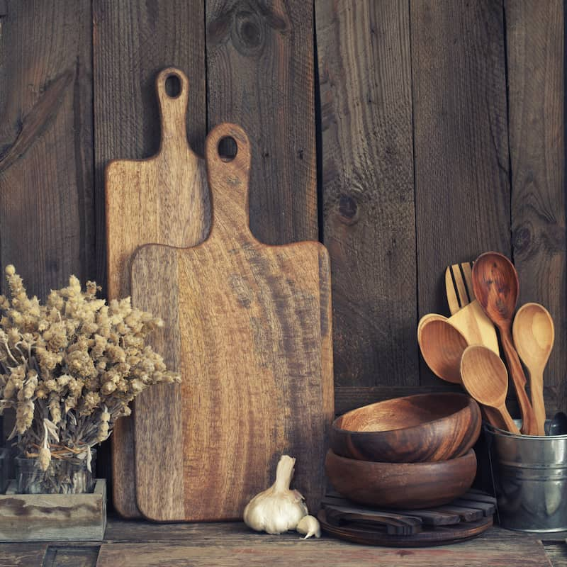 Set of rustic wooded kitchen tools.