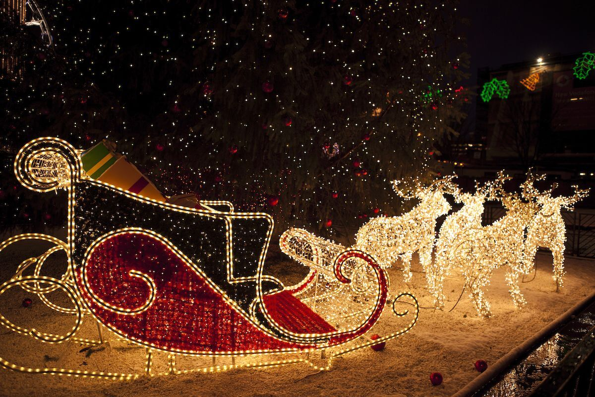 Sleigh and reindeer made out of Christmas lights.