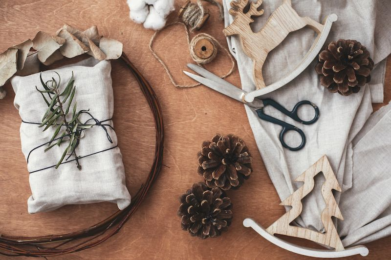 Sustainable, linen holiday wrapping paper.