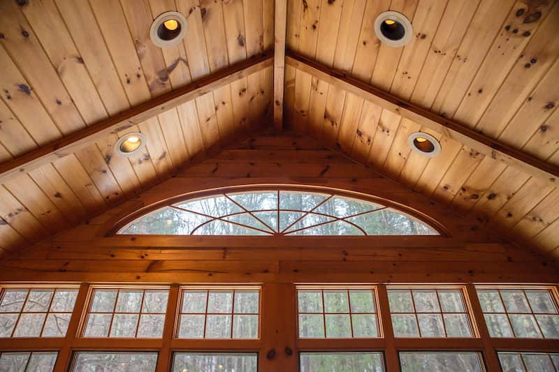 Tongue And Groove Vaulted Ceiling Panelling With Large Windows