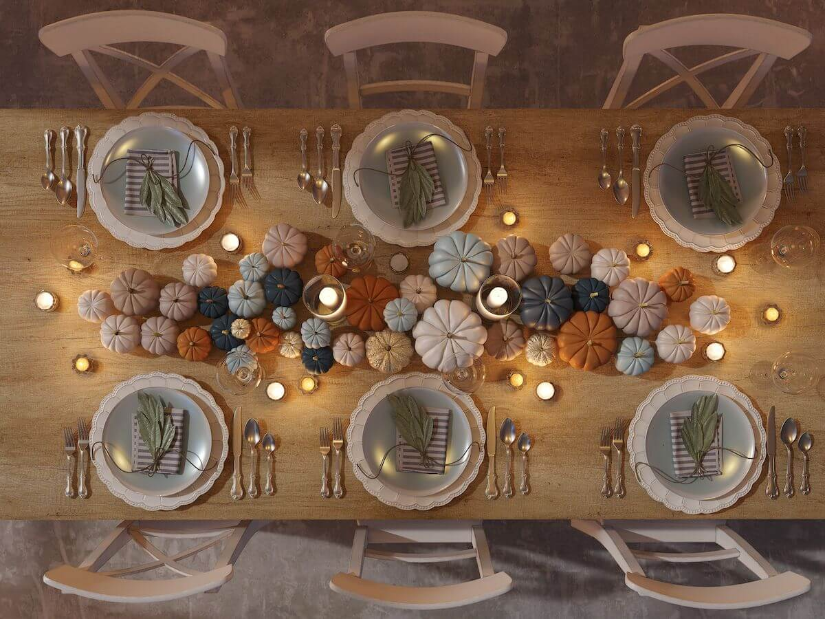Top-down view of Thanksgiving table.