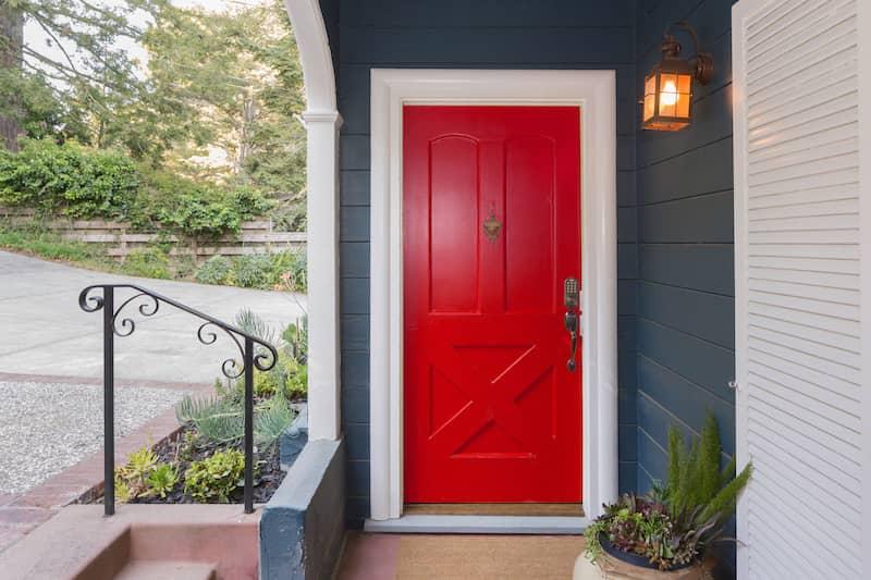 traditional style red door
